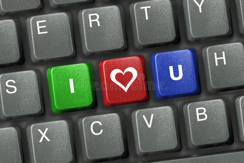 Het toetsenbord van PC met drie liefdesleutels royalty-vrije stock afbeeldingen