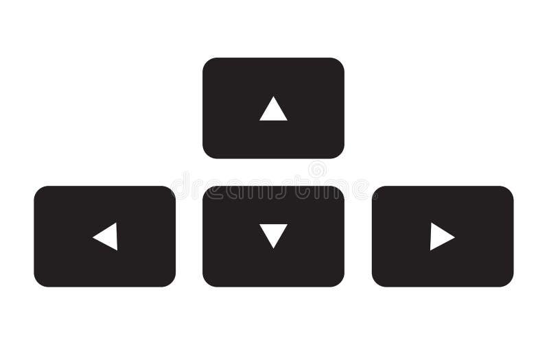 Het toetsenbordpictogram van de pijlknoop op witte achtergrond vector illustratie