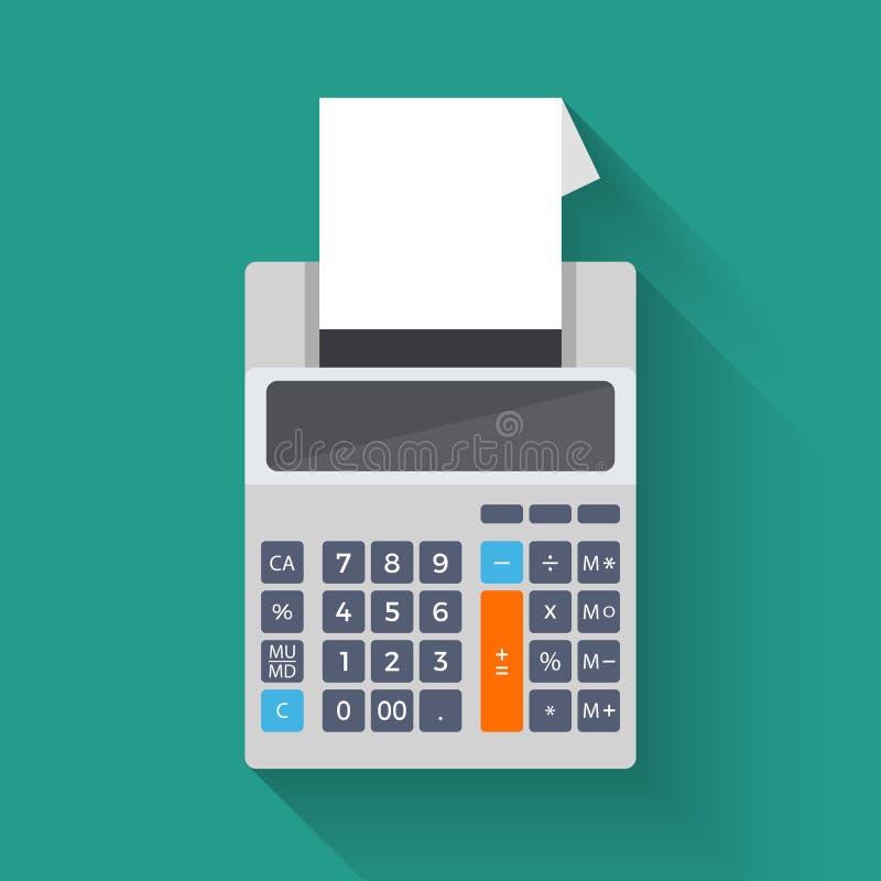 Het toevoegen van tellende machine, vector vlakke illustratie van calculator vector illustratie