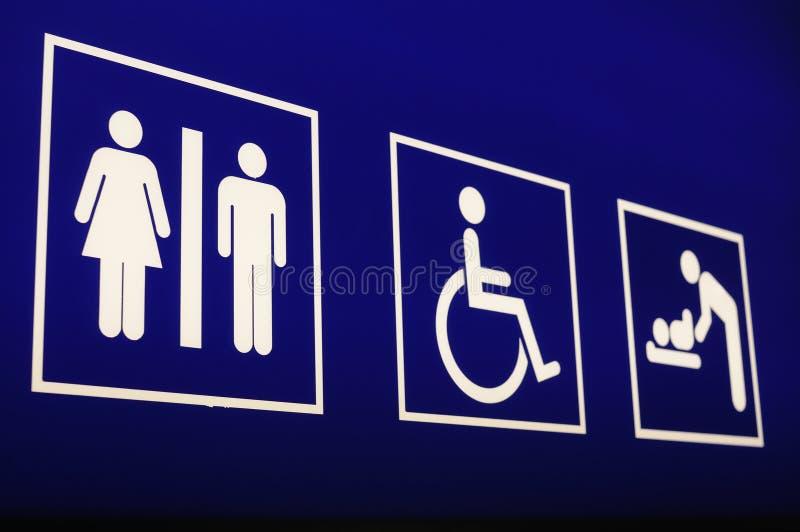 Het toiletteken van de luchthaven stock afbeelding