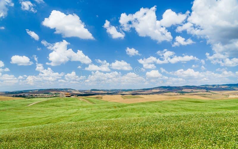 Het toneellandschap van Toscanië met rollende heuvels en mooie wolken stock afbeeldingen