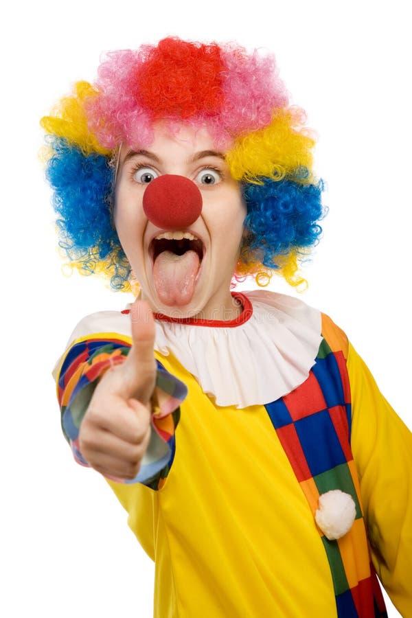 Het tonen van de clown beduimelt omhoog royalty-vrije stock foto's