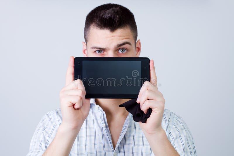 Het tonen van tablet stock foto