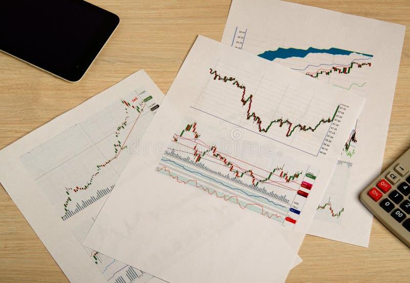 Het tonen van zaken en financieel verslag De grafieken van de voorraad royalty-vrije stock foto