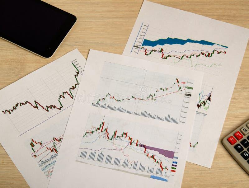 Het tonen van zaken en financieel verslag De grafieken van de voorraad royalty-vrije stock afbeeldingen
