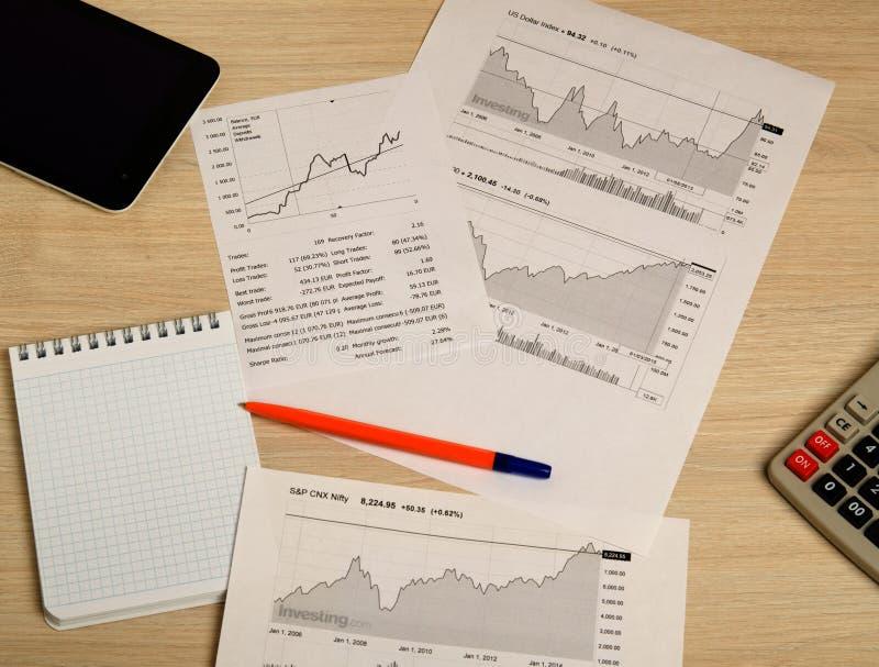 Het tonen van zaken en financieel verslag De grafieken van de voorraad royalty-vrije stock fotografie