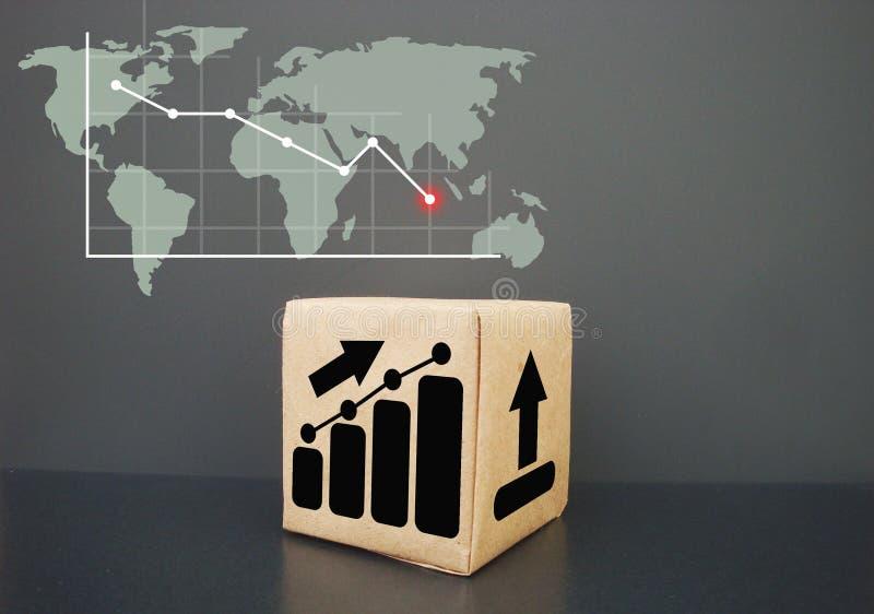 Het toont de grafiek die dalen Bedrijfsgrafiekdalingen stock foto's