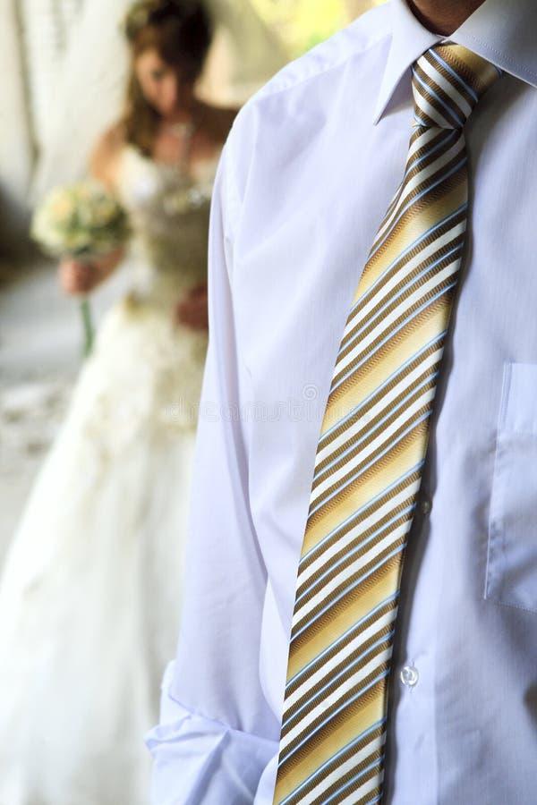 Het torso van de bruidegom in een blauwe overhemd en een band royalty-vrije stock afbeelding