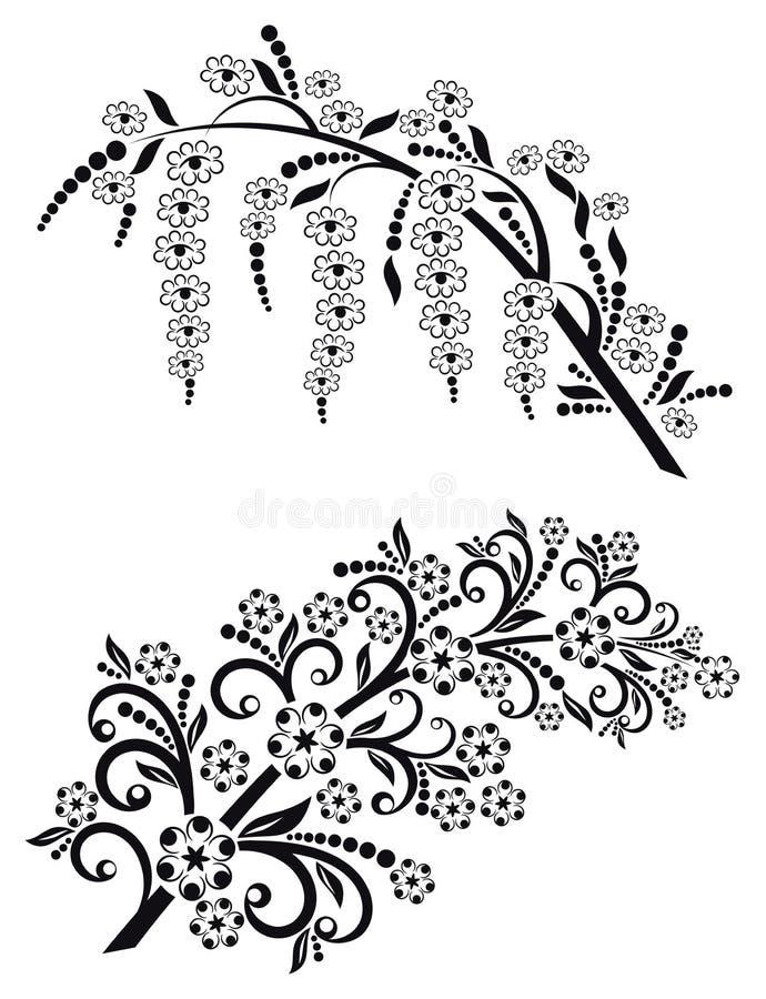 Het tot bloei komen bloeit takken vectorreeks royalty-vrije illustratie