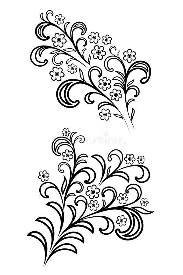 Het tot bloei komen bloeit takken vectorreeks vector illustratie