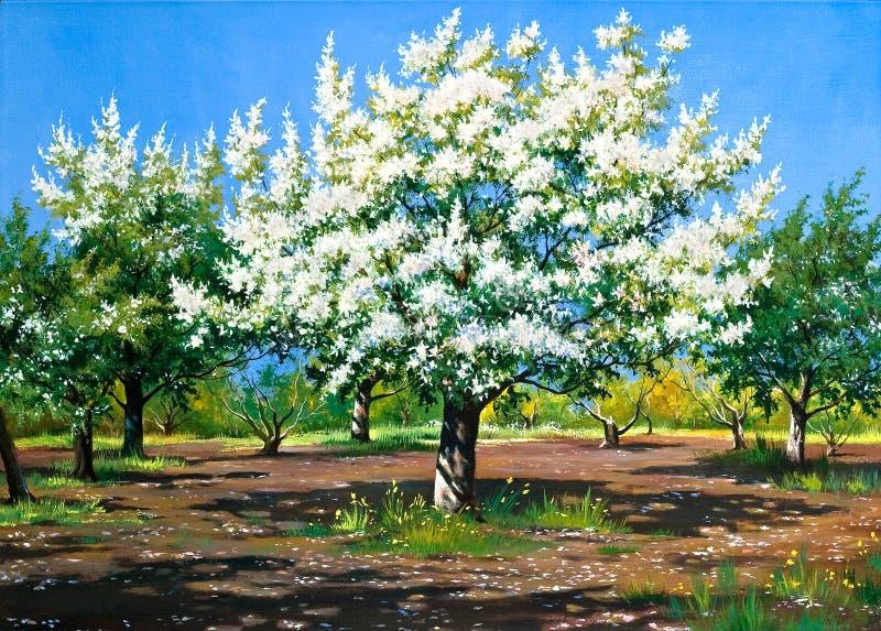 Het tot bloei komen, de lentetuin vector illustratie
