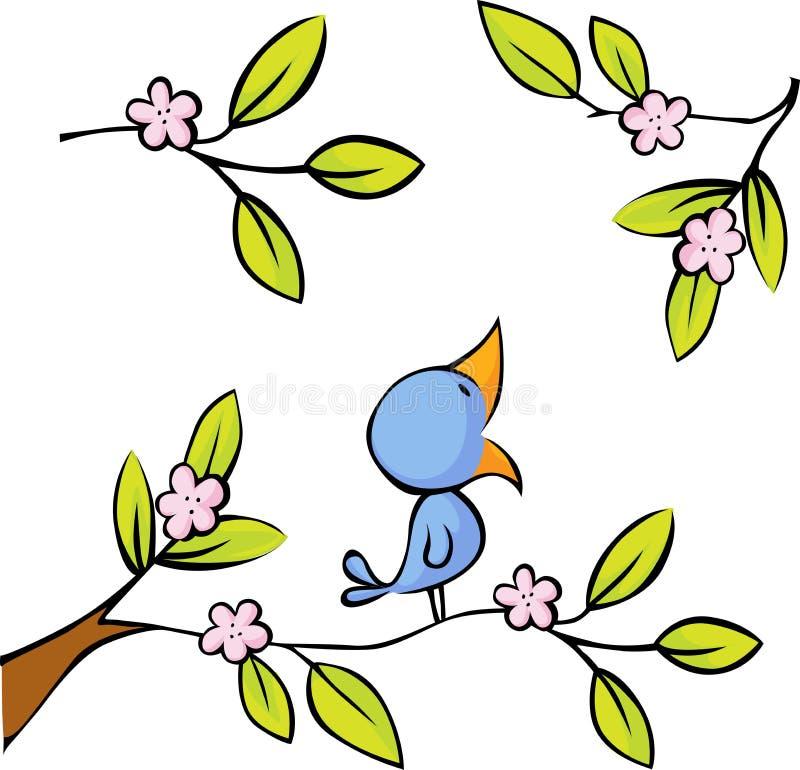 Het tot bloei komen takje gezette vogels - vector stock illustratie