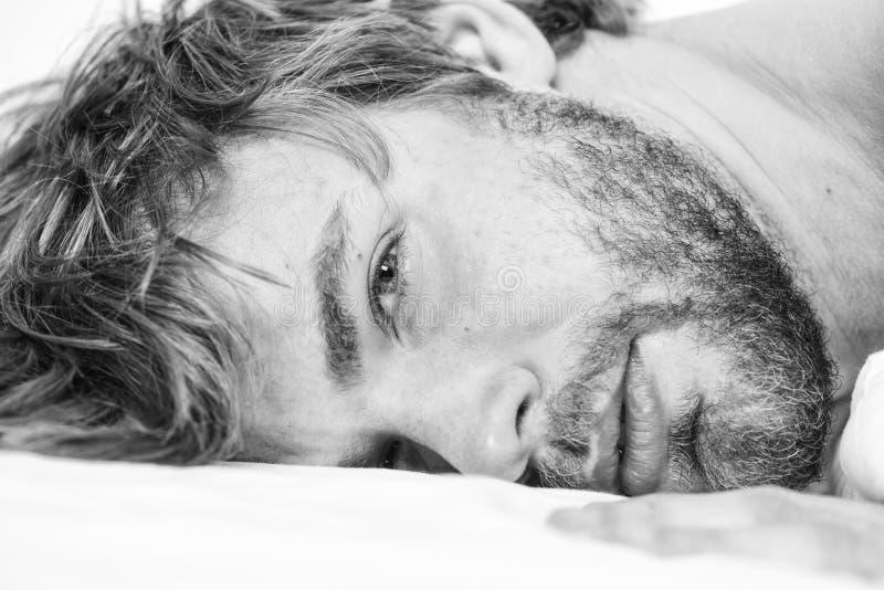 Het totaal ontspant concept Slaap van het mensen ontspant de ongeschoren gebaarde gezicht of ontwaakt enkel Ontspant de kerel geb stock fotografie