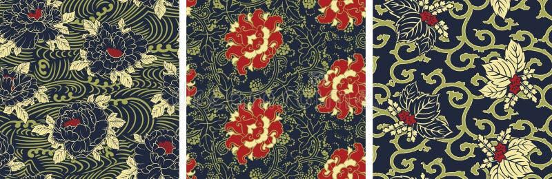 Het traditionele antieke Chinese behang van de stijl bloemenstof vector illustratie