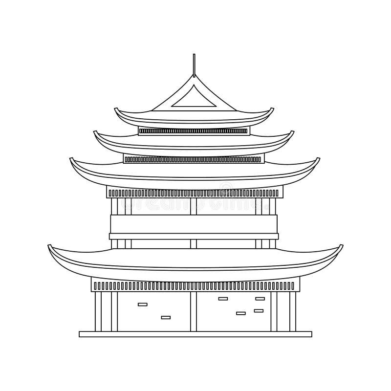 Het traditionele Aziatische Voorwerp van de Huis Dunne Lijn Vector vector illustratie