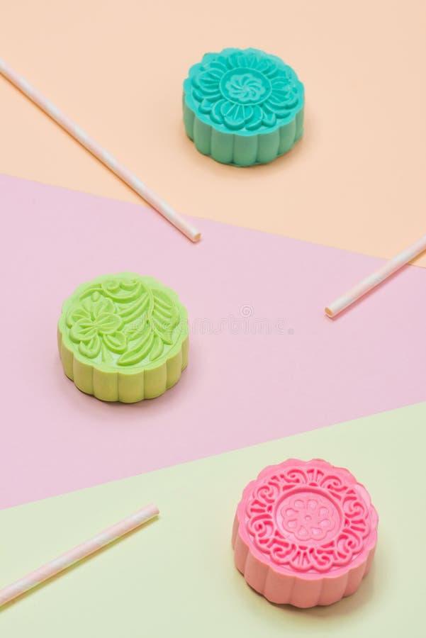 Het traditionele Chinese medio voedsel van het de herfstfestival Sneeuwhuid mooncak royalty-vrije stock afbeelding