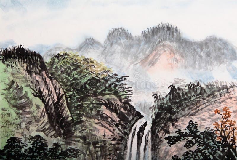 Het traditionele Chinese schilderen, landschap stock illustratie