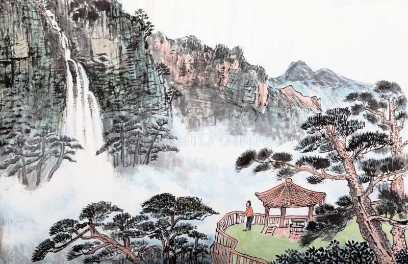 Het traditionele Chinese schilderen, landschap, bomen stock foto