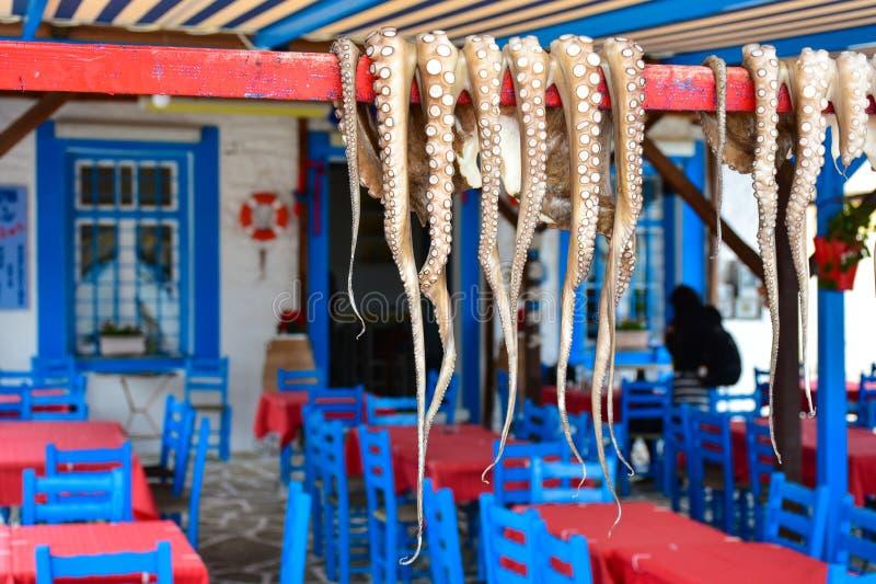 Het traditionele Griekse voedseloctopus drogen in de zon royalty-vrije stock fotografie