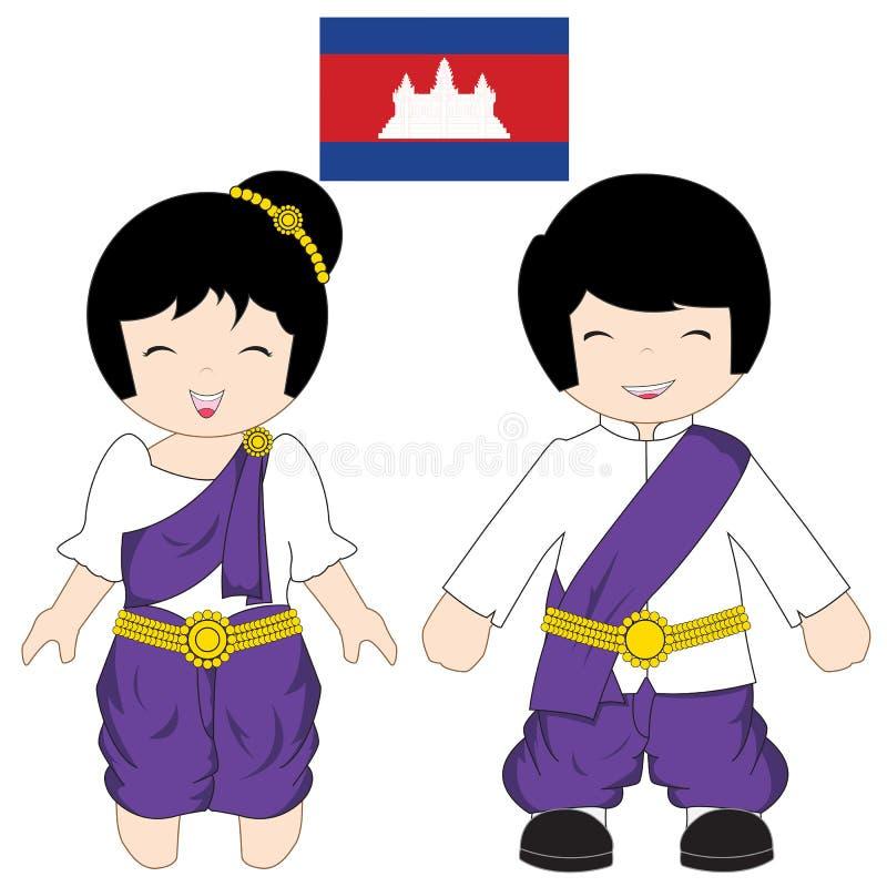 Het traditionele kostuum van Kambodja stock illustratie