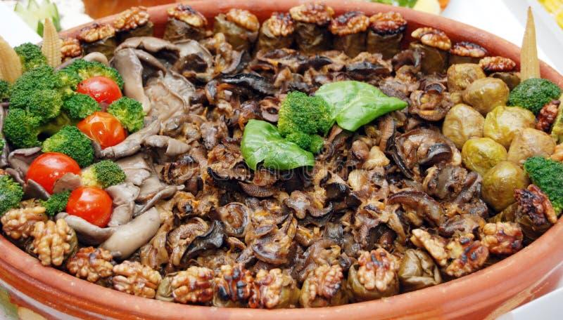 Het traditionele Macedoniër en voedsel van de Balkan stock afbeelding
