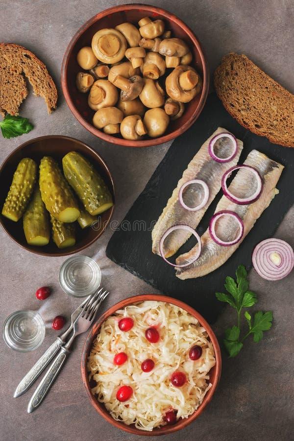 Het traditionele Russische voorgerecht en de wodka, zuurkool met Amerikaanse veenbessen, haringen, ingelegde komkommers, legden p royalty-vrije stock foto's
