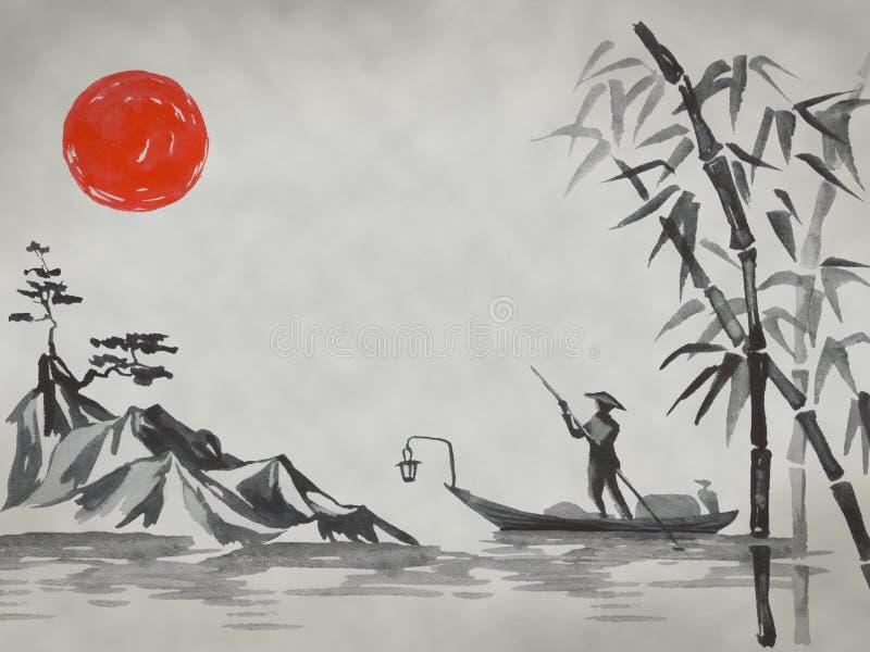 Het traditionele schilderen sumi-e van Japan Fujiberg, sakura, zonsondergang De zon van Japan Oostindische inktillustratie Japans stock foto