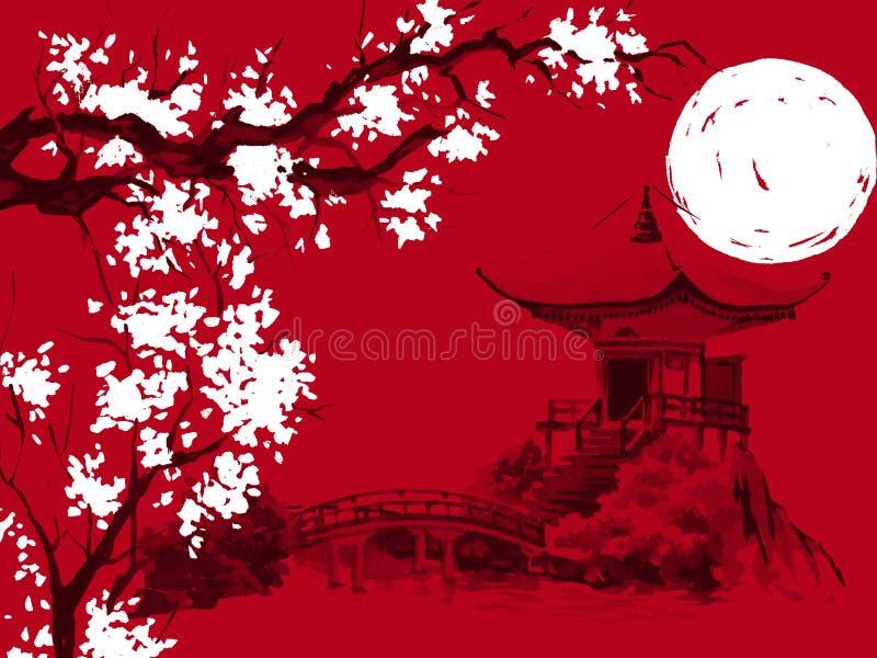Het traditionele schilderen sumi-e van Japan Waterverf en inktillustratie in stijl sumi-e, u-zonde Fujiberg, sakura, zonsondergan stock illustratie