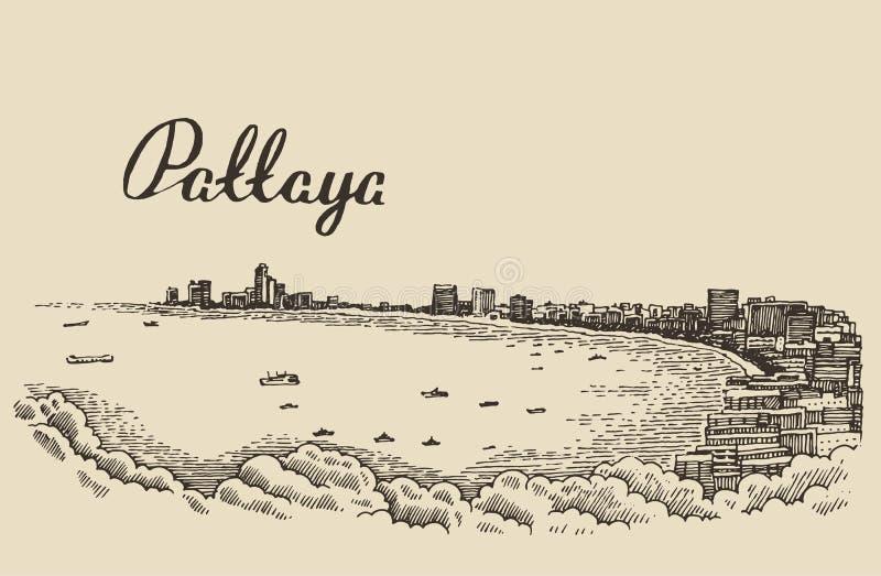 Het traditionele strand Thailand van Pattaya van de longtailboot vector illustratie