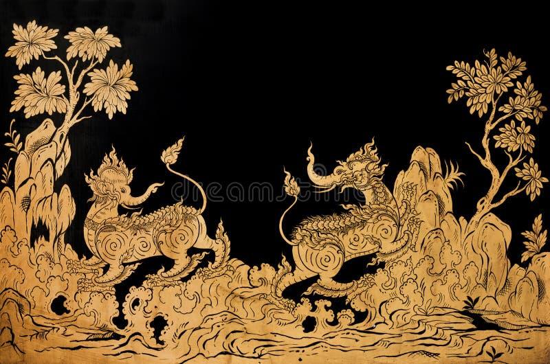 Het traditionele Thaise art. van de stijlverf royalty-vrije stock fotografie