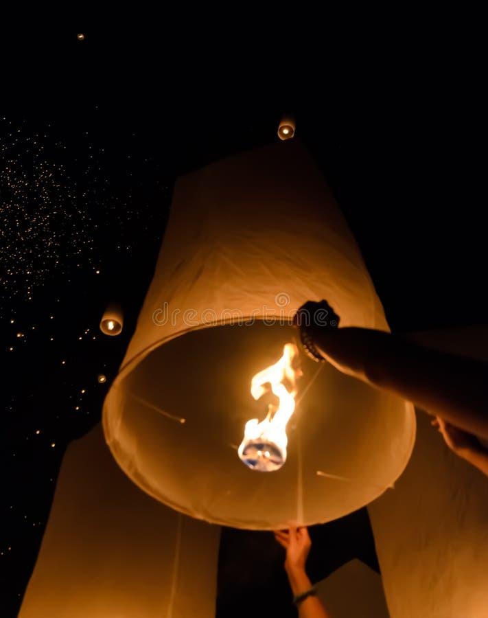 Het traditionele Thaise festival van hemellantaarns, Thailand royalty-vrije stock foto