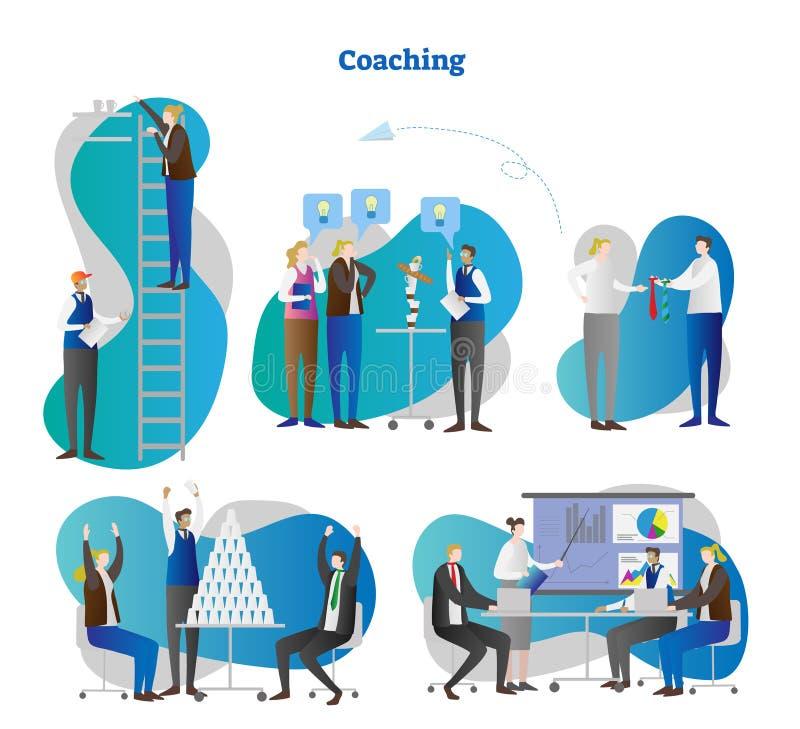 Het trainen vectorillustratie Inzamelingsreeks van het bedrijfs en persoonlijkheidsworkshops de groeigroepswerk Trainer en mentor vector illustratie