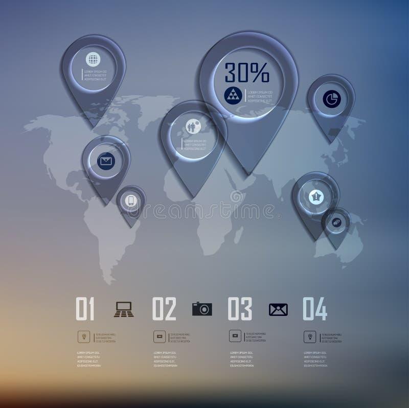 Het transparante diagram bedrijfs van Infographics bij het onduidelijke beeld royalty-vrije illustratie