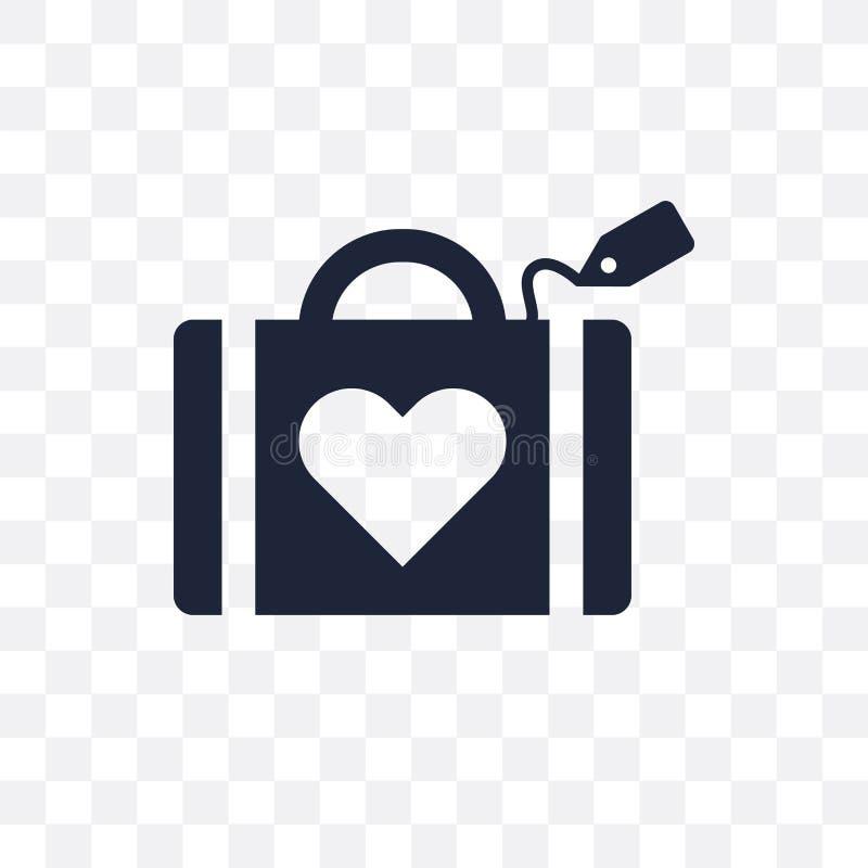 het transparante pictogram van de huwelijksbagage het symboolontwerp van de huwelijksbagage royalty-vrije illustratie