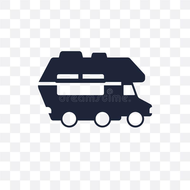 het transparante pictogram van de kampeerautoauto het symboolontwerp van de kampeerautoauto van trans stock illustratie