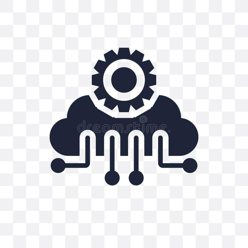 Het transparante pictogram van de wolkenintelligentie Het symbool D van de wolkenintelligentie royalty-vrije illustratie