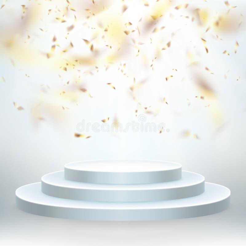 Het transparante realistische effect gouden glanzende confettien vliegen Rond podium met lichten voor gebeurtenis of toekenningsc royalty-vrije illustratie