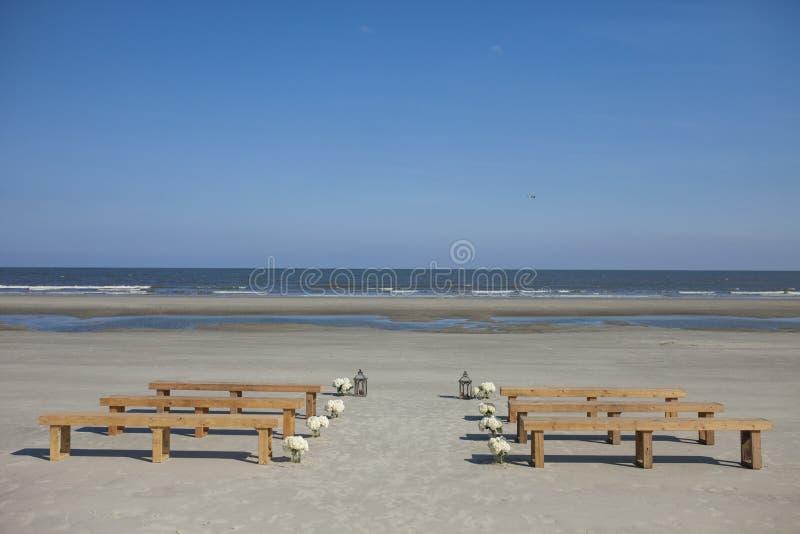 Het trefpunt van het strandhuwelijk stock fotografie