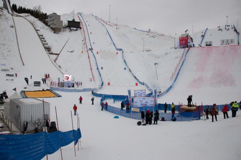 Het trefpunt voor Wereldbekerantennes in Vrij slag die in Canada Ol ski?en stock fotografie
