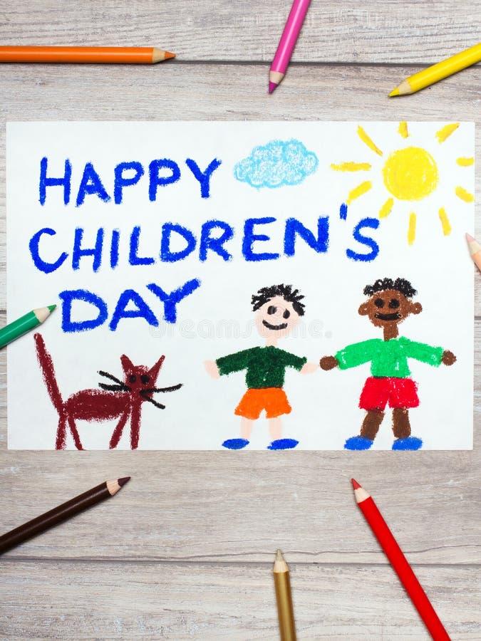 het trekken: De dagkaart van kinderen royalty-vrije stock afbeeldingen