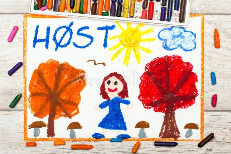 Het trekken: De Nederlandse woordherfst, glimlachend meisje, bomen met oranje en rode bladeren, vector illustratie