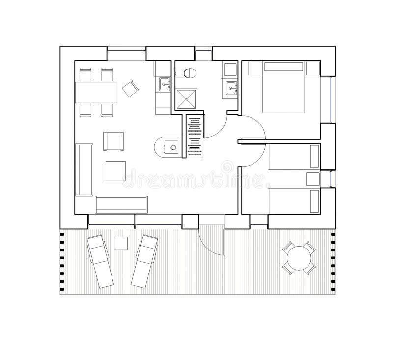 Het trekken - geïsoleerd vloerplan van het enige familiehuis royalty-vrije illustratie