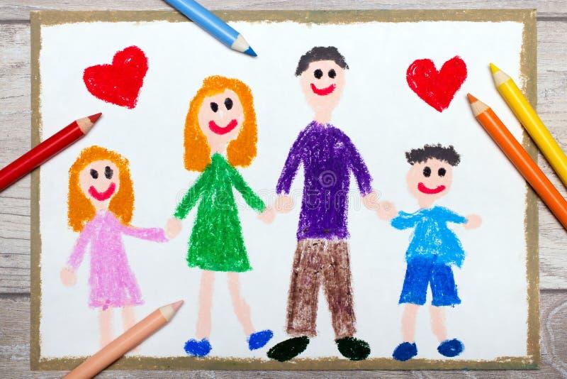 Het trekken: Gelukkige familie, moeder, vader en hun kinderen royalty-vrije illustratie