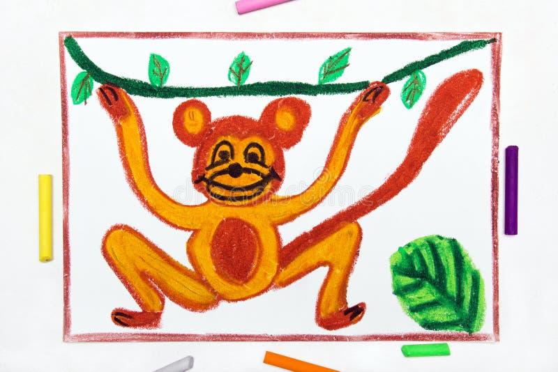 het trekken: het glimlachen van aap hangt op Liana stock illustratie