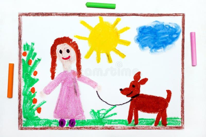 Het trekken: Jong meisje bij roze kleding het lopen hond royalty-vrije illustratie