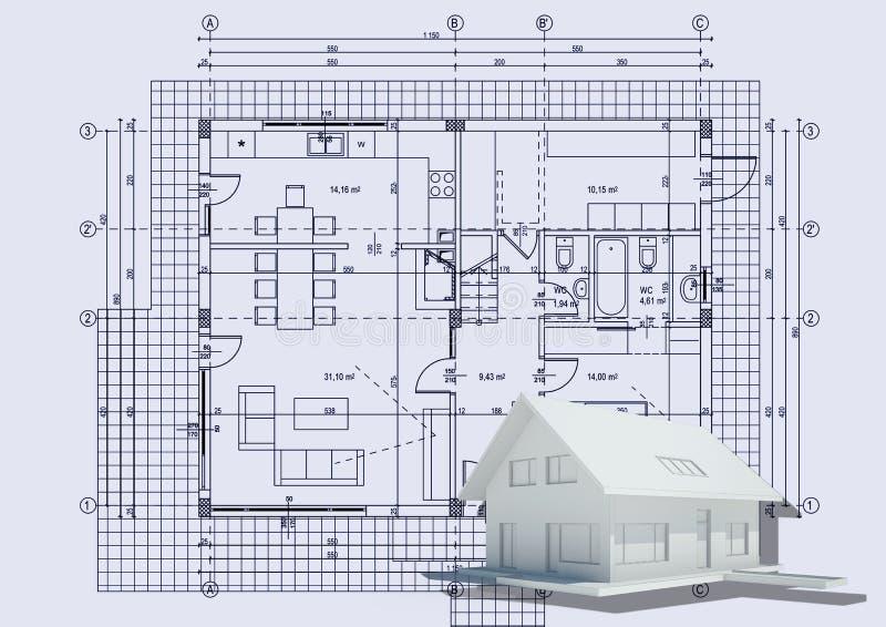 Het trekken met 3d huis royalty-vrije illustratie
