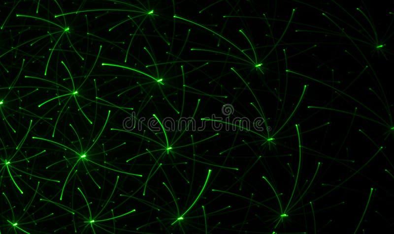 Het trekken op een zwarte muur met een groene laser Abstracte tekening stock afbeelding