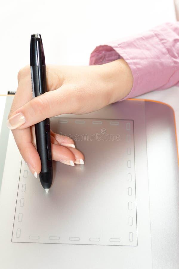Het trekken op grafische tablet royalty-vrije stock afbeeldingen