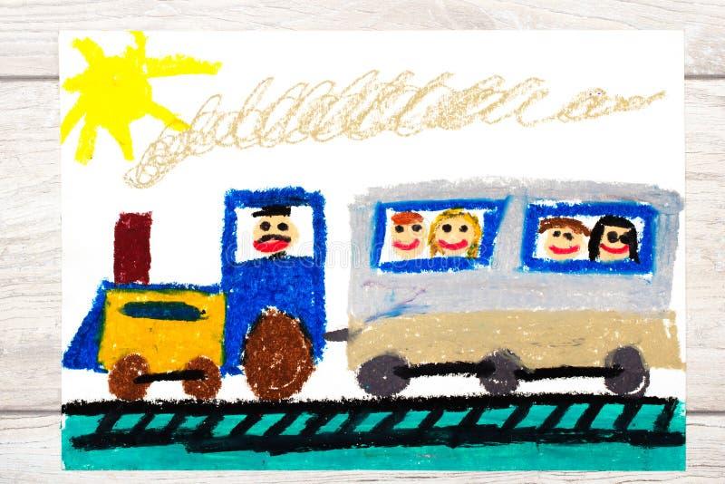 Het trekken: trein met glimlachende passagiers stock illustratie