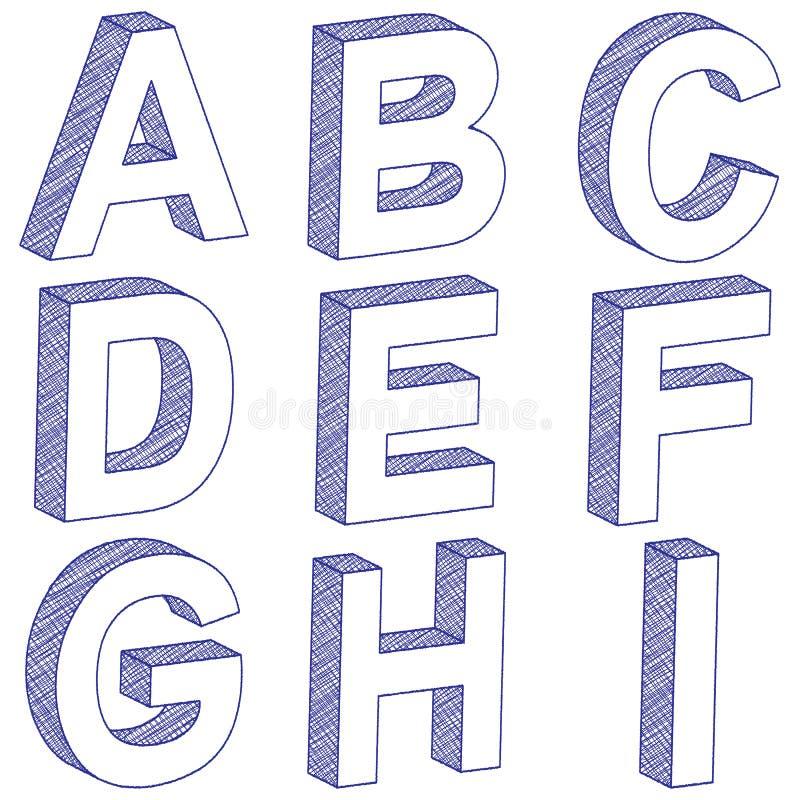 Het trekken van 3D brief A-I stock illustratie